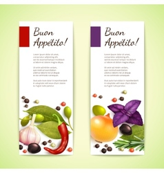 Herbs and spices banners vertical vector