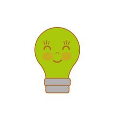 Kawaii cute happy bulb icon vector