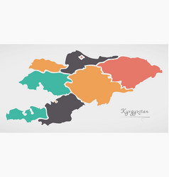 Kyrgyzstan map with states and modern round shapes vector