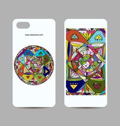 Mobile phone cover design ethnic mandala vector