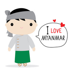 Myanmar men national dress cartoon vector