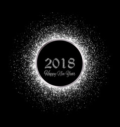 New year 2018 silver glitter background vector
