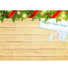 new year wooden background vector image vector image