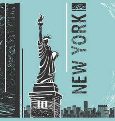 New york statue of liberty poster vector