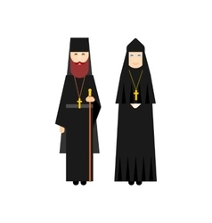 Orthodox men and women monks vector image