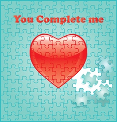 Puzzle background heart vector