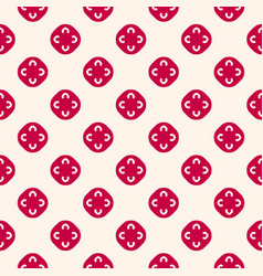 red and beige geometric floral seamless pattern vector image