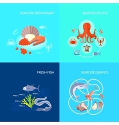 Sea food icon flat vector