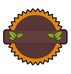 Seal stamp with leaves icon vector