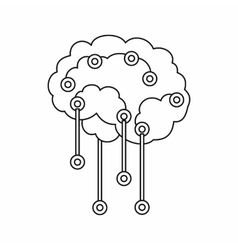 Sensors on human brain icon outline style vector