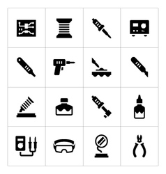 Set icons of soldering vector