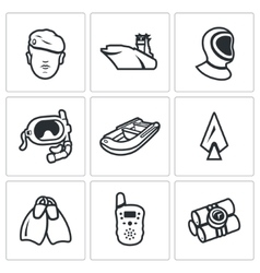 Set of Commandos Icons Soldier Ship vector image vector image