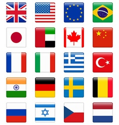 Set of popular country flags glossy square icon vector