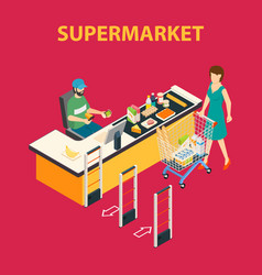 Shopping mall supermarket composition vector