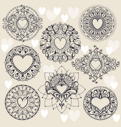 sketch of frames with hearts in henna style vector image vector image