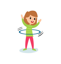 Smiling little girl character spinning a hula hoop vector