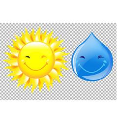 sun and drop cartoon set vector image