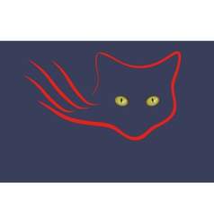 The emblem of the cats in the dark vector image