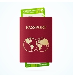 Travel Concept with Passport and Boarding Pass vector image