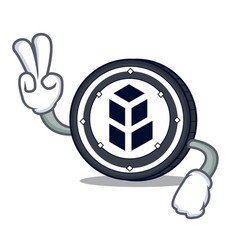 Two finger bancor coin character cartoon vector