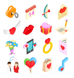 Valentines isometric 3d icons set vector image