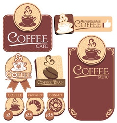 various of coffee label vector image vector image