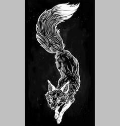 Wild jumping fox line art vector