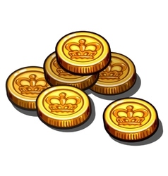 Gold coins with royal crown isolated vector