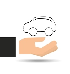 hand holding insurance car silhouette vector image