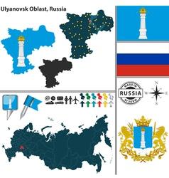 Map of Oblast of Ulyanovsk vector image