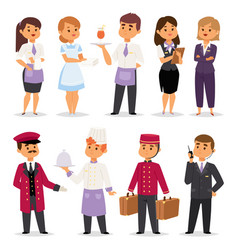 Hotel professions people workers happy vector