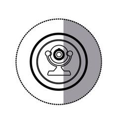 Sticker of monochrome contour of desktop webcam in vector