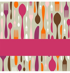 Cutlery pattern invitation vector