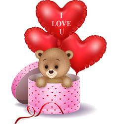 Cartoon bear in a gift box holding red shape ballo vector