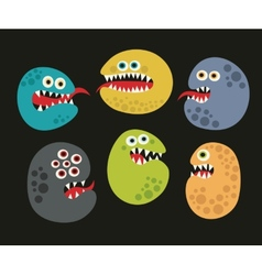 Set of cute virus monsters vector