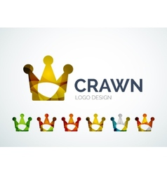 Crown logo design made of color pieces vector