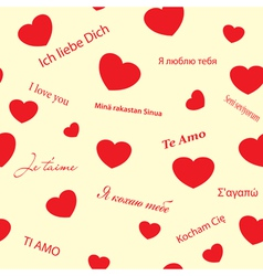 Romantic seamless texture with red hearts vector
