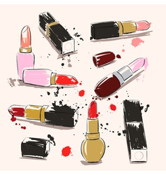 Hand drawing with lipstick vector