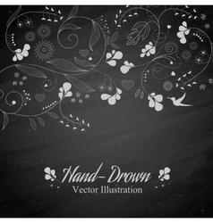 Flower on a blackboard vector image