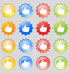 Like thumb up icon sign set from sixteen vector