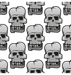 Eerie cracked skulls seamless pattern vector