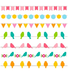 Bunting and birds borders set vector