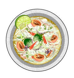 Green Papaya Salad with Green Eggplants and Salted vector image