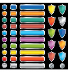 buttons shields and screw set vector image vector image