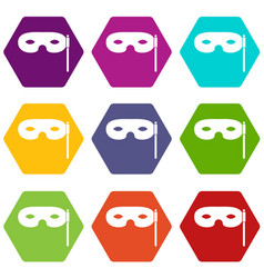 Carnival mask icon set color hexahedron vector