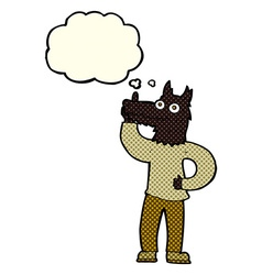 Cartoon werewolf with idea with thought bubble vector