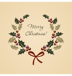 Christmas ilex wreath in vintage style vector image vector image