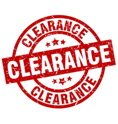 clearance round red grunge stamp vector image