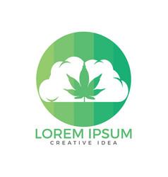 cloud or smoke with marijuana leaf logo design vector image