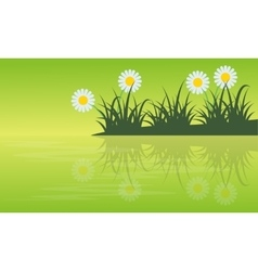 Collection stock of spring with flower ladnscape vector